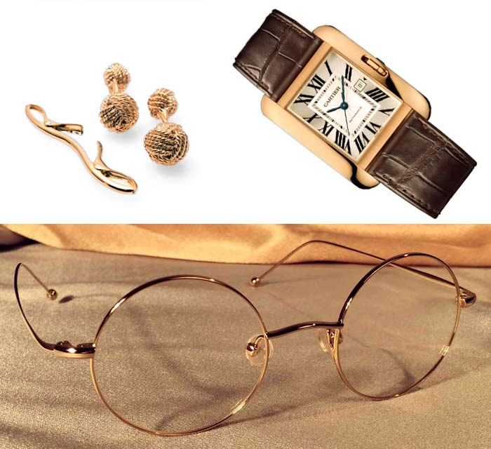 Gold Round Eye Frames with Watch, Cufflinks and Tie Pin