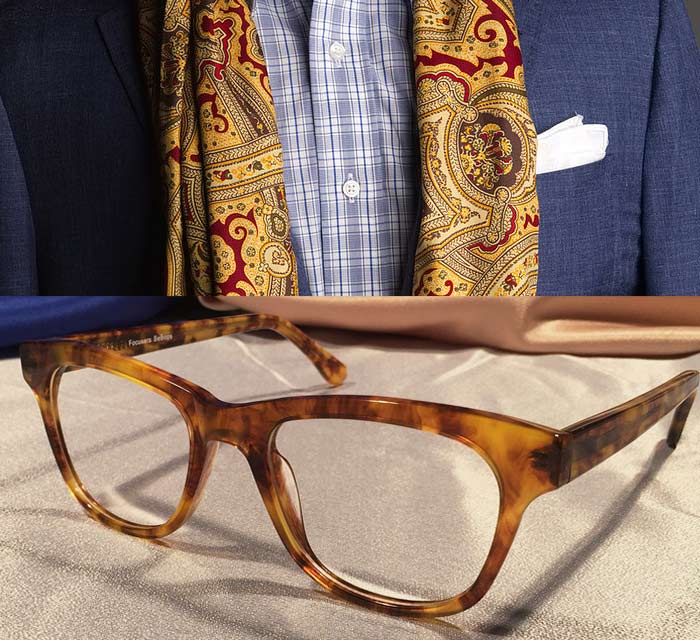 Hampshires Gold Amber Acetate Eyewear with Scarf and Suit