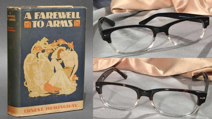 A Farewell to Arms book with Ernest Hemingway Eyewear