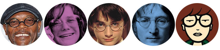 Round glasses on famous people