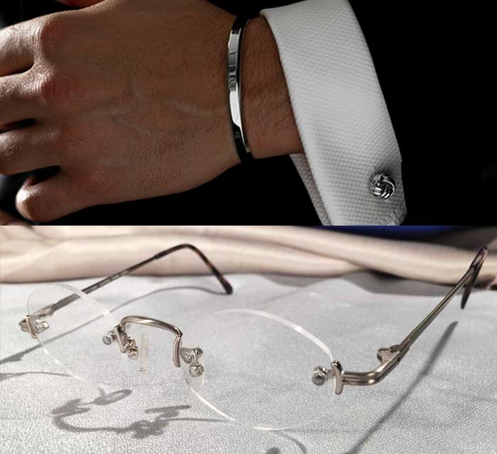 Silver Rimless Eye Frames with Bracelet and Cufflinks