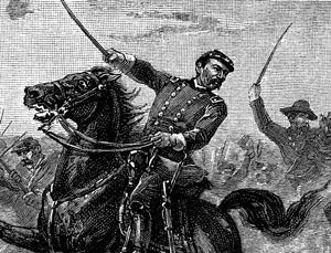 Civil War battle image soldier on horsback