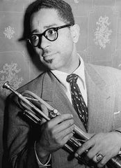 Dizzy Gillespie wearing Bebops style glasses