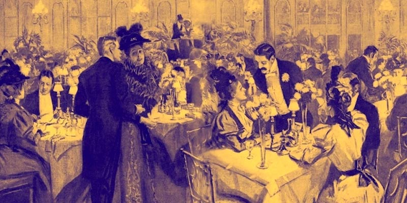 A Drawing of Gilded Age Fashion and Dining