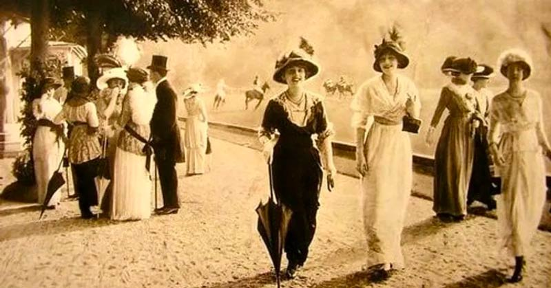 Gilded Age Fashion  Walking in Park Photograph