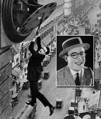 Harold Lloyd wearing eyeglasses in film