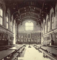 Interior view of dining hall at Oxford University