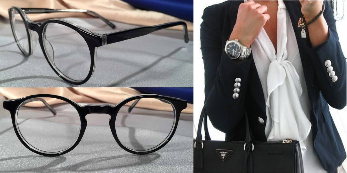 Peabody Black and Silver Eyeglasses Fashion Outfit Collage