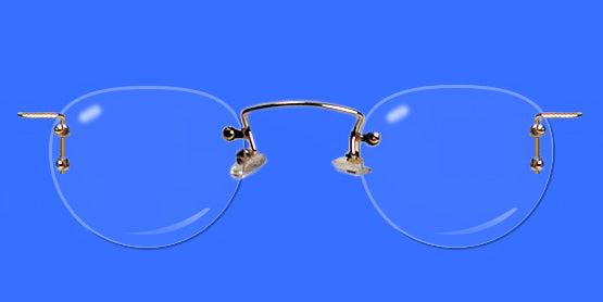 Rimless eyeglass frames with enhanced oval lenses