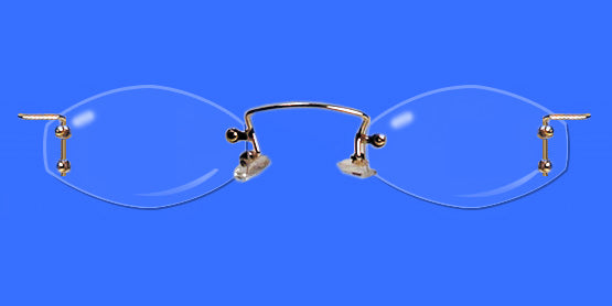 Rimless eyeglass frames with hexagon shaped lenses