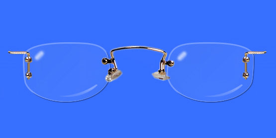 Rimless eyeglass frames with oblong shaped lenses