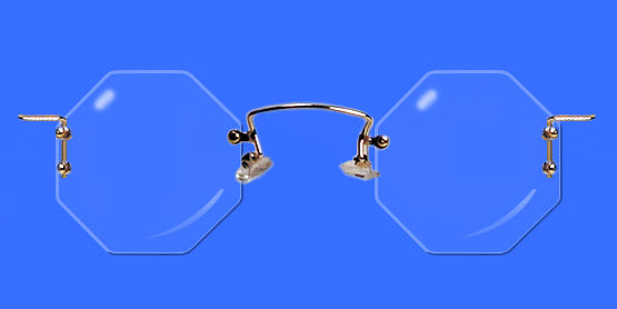Rimless eyeglass with octagon lenses
