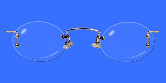 Rimless eyeglass frames with oval lenses