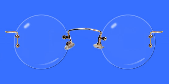 Rimless eyeglass frames with round lenses