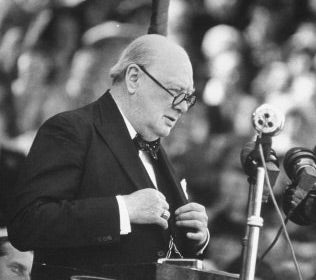 Winston Churchill Waring Glasses While Giving Speech