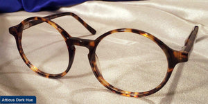 Atticus dark hue tortoise shell frames front view
