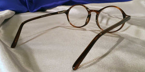 Back view of Atticus gold amber tortoiseshell eyeglasses
