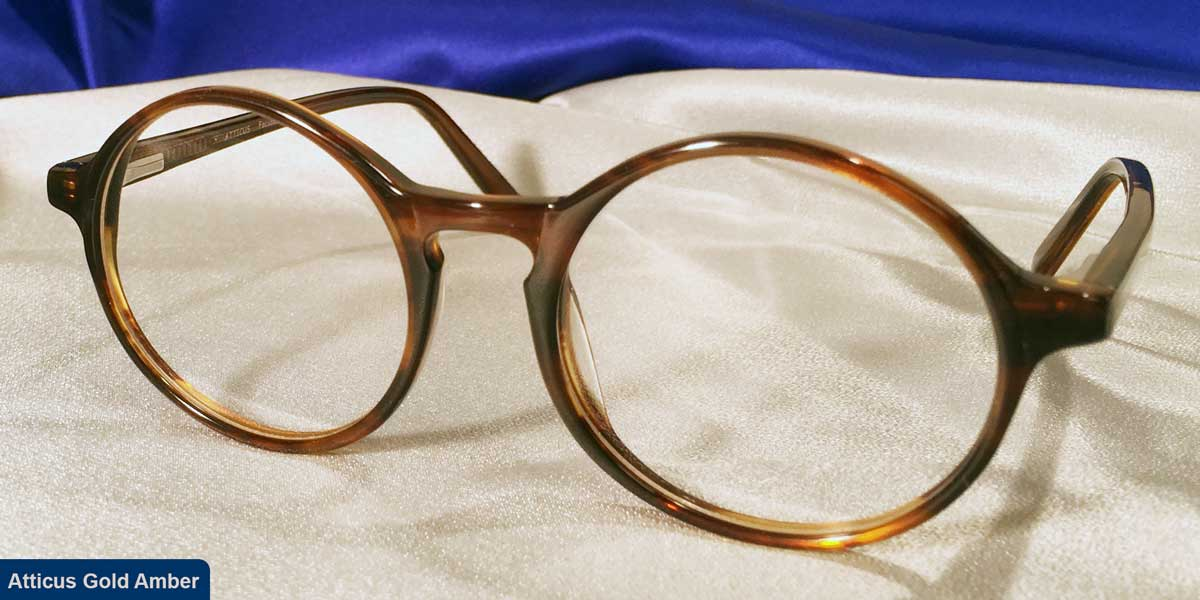 Front view of Atticus gold amber tortoiseshell eyeglasses