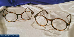 Atticus dark hue and gold amber frames comparison