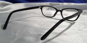 Back view of Bull Markets glossy black rectangular eyeglasses