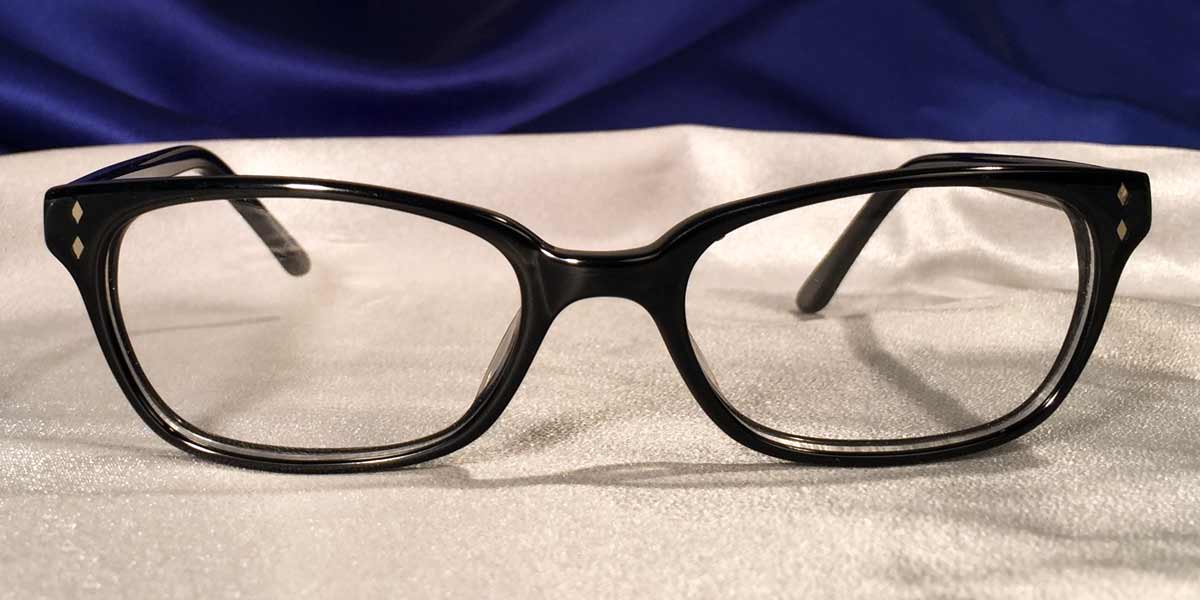 Front view of Bull Markets glossy black rectangular eyeglasses