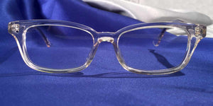 Front view of Candescents clear crystal eyeglasses