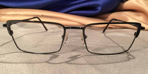 Front view of Crashers rectangular black metal eyeglasses