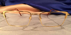 Front view of Crashers rectangular gold metal eyeglasses