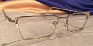 Side view of Crashers rectangular silver metal eyeglasses