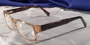 Side view of Diamants Ambre clear rim eyeglasses