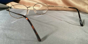 Back view of Directors gold metal and tortoiseshell eyeglasses