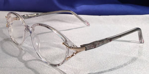 Detail view of Duchess clear translucent eyeglasses