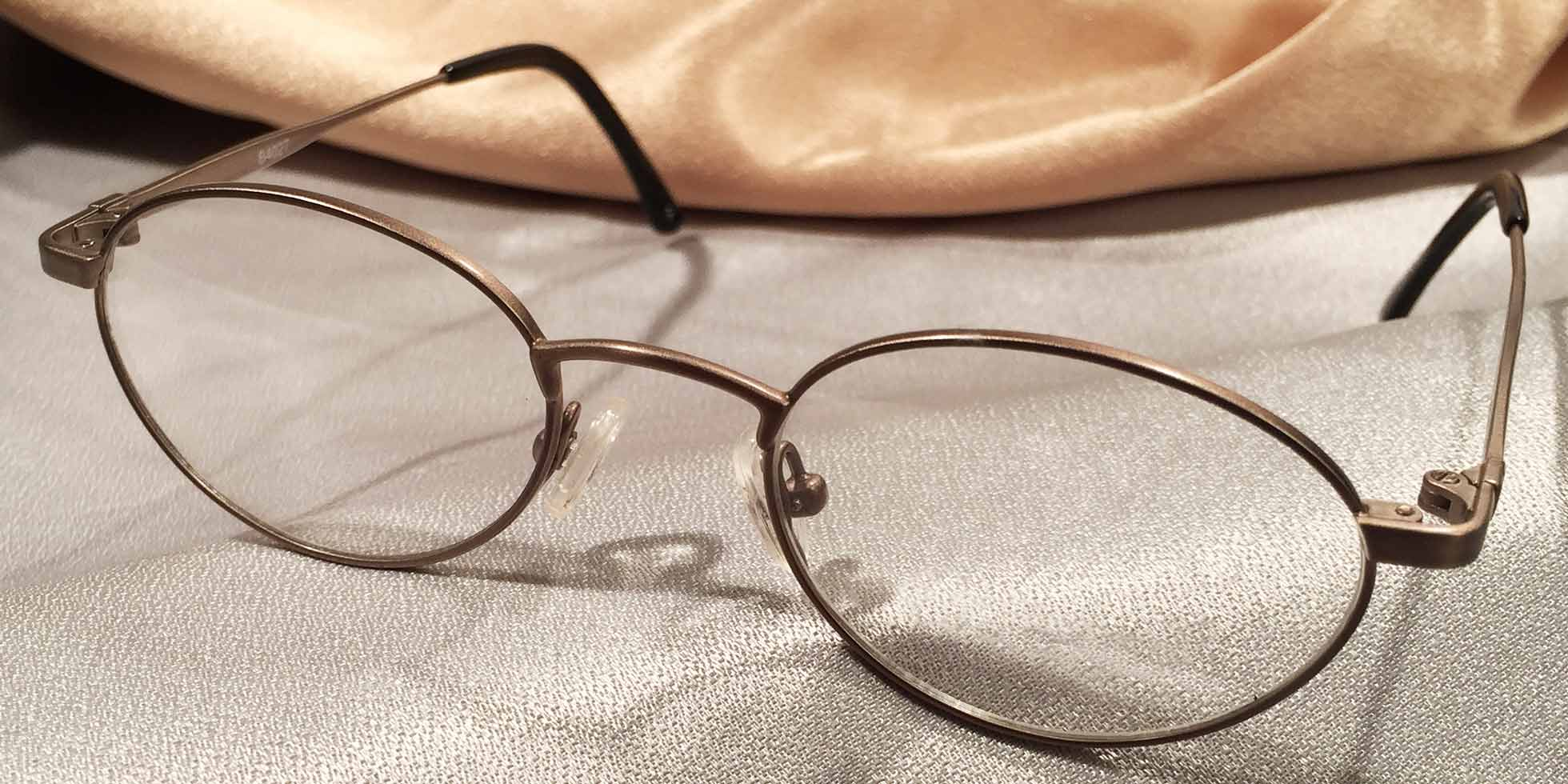 Erudites Gold Pewter Metal Eyeglass Frames Front View
