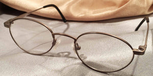 Front view of Erudites gold pewter metal eyeglasses