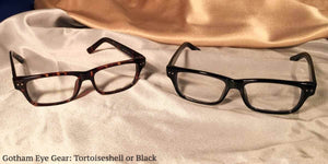 View of Gotham Eye Gear black and tortoiseshell eyeglasses set