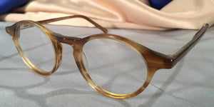 Side view of Governor's Poor Boys honey amber tortoiseshell eyeglasses