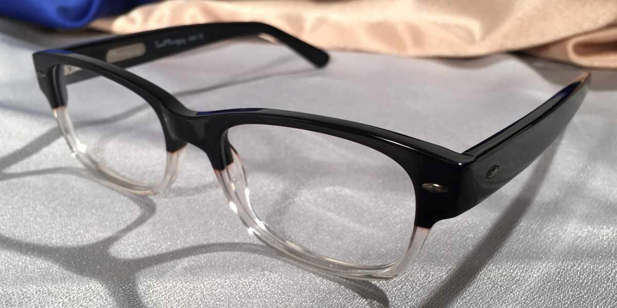 Side view Hemingway Farewells black and clear eyeglasses