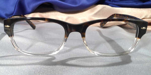 Front view Hemingway Farewells tortoiseshell and clear eyeglasses