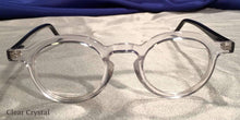 Front view of Hubbles black frames with clear crystal rimmed eyeglasses