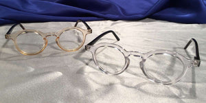 View of Hubbles clear rimmed eyeglasses set