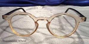 Front view of Hubbles tortoiseshell frames with clear wheat color rimmed eyeglasses