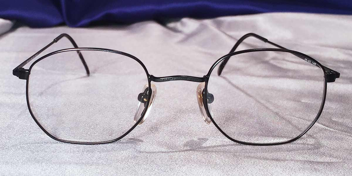 Front view of Masters matte black metal eyeglasses