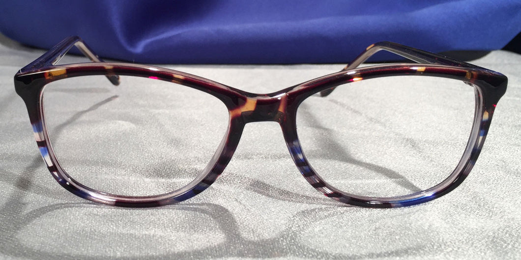 Front view of Montereys blue and brown tortoiseshell eyeglasses
