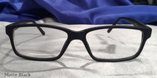Front view of Tiger Oaks matte black eyeglasses