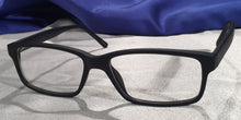 Corner view of Tiger Oaks matte black eyeglasses