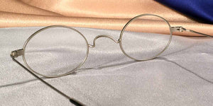 Peabody-Pierce #23 Pewter Metal Oval Eyeglass Frames Detail View
