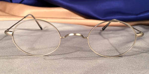Front view of Peabody-Pierce #23 pewter metal oval eyeglasses