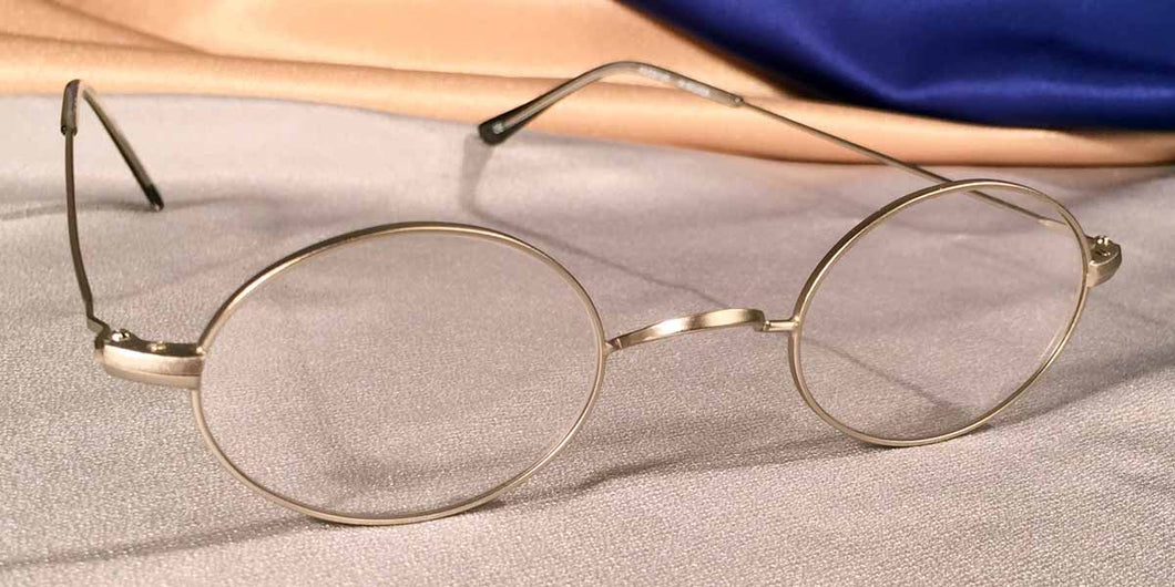Peabody-Pierce #23 Pewter Metal Oval Eyeglass Frames Three Quarter View