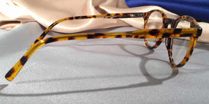 Side view of Peabody-Pierce #8 Honey Demi tortoiseshell eyeglasses