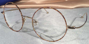 Side view of Signature Metal Rounds gold and tortoiseshell eyeglasses